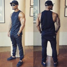 Muscleguys Stringer Tank Top Pria Binaraga Pakaian Kebugaran Mens Sleeveless Gym Rompi Kapas Single