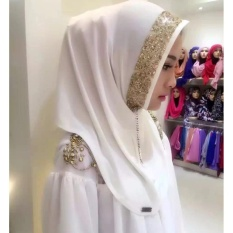 Muse Snapback Womens Cotton Golden Sequins Diamonds Noble MuslimWear Jilbab (Putih)-Intl