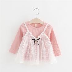 Musim Semi atau Musim Gugur Baru Anak Lengan Panjang Gaun Putri Gadis Gaun (Merah Muda Warna)