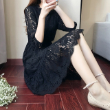 Jual Musim Gugur Baru Berongga Gaun Renda Hitam Baju Wanita Dress Wanita Gaun Wanita Online Di Tiongkok