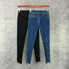 MM Ukuran Besar Peregangan Tipis Celana Pensil Ketat Celana Jeans Lubang (Penuh Dua To Send Sebuah Rompi) (Penuh Dua To Send Sebuah Rompi)