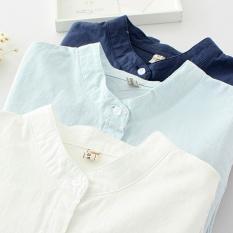 Korea Fashion Style Kain Linen Warna Solid Slim Lengan Panjang Kemeja Putih (Biru tua) baju wanita baju atasan kemeja wanita