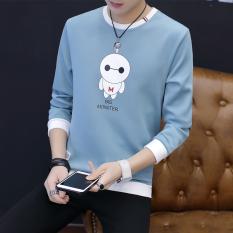 Beli Musim Gugur Baru Leher Bulat Lengan Panjang T Shirt Pria Sweater Panjang Zuo H5108 Langit Biru Biru Baju Atasan Sweter Pria Lengkap
