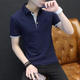 Promo Musim Gugur Baru Pria Lengan Panjang Kemeja Polo T Shirt Biru Dan Abu Abu Di Tiongkok