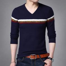 Kaos Oblong Pria Lengan Panjang Rajutan Kerah V Trendi Versi Korea