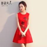 Spesifikasi Musim Semi Baru Menikah Gaun Baju Pelayanan Tanpa Lengan Merah Tempat Baru