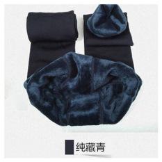 Toko Musim Gugur Dan Musim Dingin 200G Tambah Beludru Terlihat Langsing Injak Kaki Long Johns Legging Biru Tua Lengkap Tiongkok