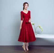 Review Terbaik Anggur Merah Baru Musim Semi Pinggang Tinggi Baju Pelayanan Gaun Malam Arak Anggur Model Warna
