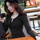 Harga Musim Gugur Dan Musim Dingin Baru Tombol Motif Baut Warna Solid Lengan Panjang T Shirt Hitam Baju Wanita Baju Atasan Kemeja Wanita Termurah
