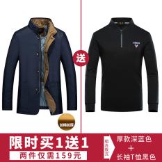 Jual Beli Musim Gugur Dan Musim Dingin Ditambah Kapas Pria Jaket Lebih Tebal Jas Biru Versi Tebal 16775 Jaket Pria Jaket Gunung Baru Tiongkok