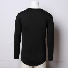 Beli Musim Gugur Dan Musim Dingin Hip Hop Warna Solid Arc Bagian Bawah T Shirt Baju Dalaman Setengah Panjang Model Hitam Baju Atasan Kaos Pria Kemeja Pria Cicilan