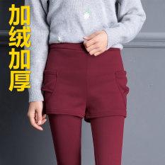 Musim Gugur atau Musim Dingin Kasual Tambah Beludru Ukuran Plus Yard Ikat Tinggi Legging (Yang Tidak Kenal Dua Potongan arak Anggur Tambah Beludru Celana) baju Wanita Celana Wanita