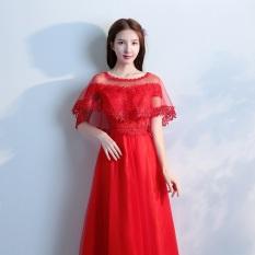 Korea Modis Gaya Merah Baru Musim Semi Pernikahan Gaun Baju Pelayanan (Gaun Ditambah Tipis Selendang)