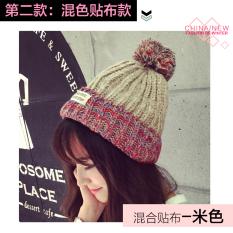 Musim Gugur Dan Musim Dingin Korea Fashion Style Patch Hitam Lebih Tebal Topi Rajutan Topi Beanie (Campuran Warna Patch-Warna Beras)