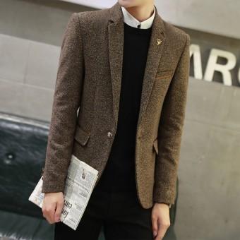 Beli sekarang Musim gugur musim dingin Harga spesial Gaya Korea Pria casual  Setelan formal Atasan Jaket anak muda Inggris membentuk tubuh wol tunggal  ... 75683e65dd
