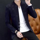 Review Terbaik Musim Gugur Dan Musim Dingin Korea Fashion Style Pria Kasual Stand Up Kerah Slim Kemeja Jas 02 Walet Biru Tua