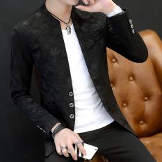 Spesifikasi Musim Gugur Dan Musim Dingin Korea Fashion Style Pria Kasual Stand Up Kerah Slim Kemeja Jas 02 Walet Hitam Dan Harganya