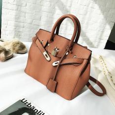 Musim Gugur Dan Musim Dingin Modis Motif Kulit Imitasi Tas Model Hermes Baru Tas Wanita (Brown Model Besar)