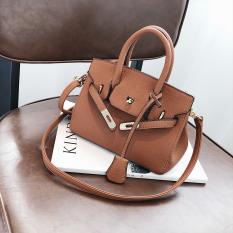 Musim Gugur Dan Musim Dingin Modis Motif Kulit Imitasi Tas Model Hermes Baru Tas Wanita (Brown Model Kecil)