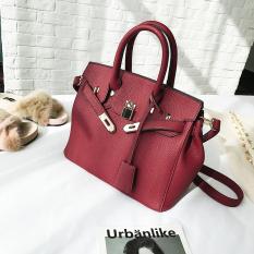 Musim Gugur Dan Musim Dingin Modis Motif Kulit Imitasi Tas Model Hermes Baru Tas Wanita (Merah Model Besar)