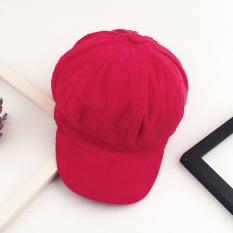 Topi Baret Gaya Sastra Topi Kain Korduroi (Merah (Baik Lampu Murni Segi Delapan))