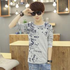 12 Kaos Remaja Pakaian Pria Baju Musim Gugur Katun Musim Semi (LOGO Abu-abu)
