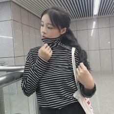 Musim Gugur Dan Musim Dingin Siswa Perempuan Lengan Panjang T Shirt Baju Musim Gugur Kerah Tinggi Bergaris Hitam Baju Wanita Baju Atasan Kemeja Wanita Oem Diskon 40