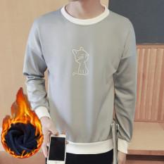 Tren Ramping Pada Siswa Pria Kaos Sweater Musim Gugur Lengan Panjang Kaus (T03 Kucing Abu