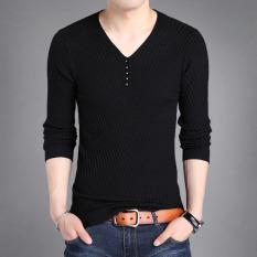 Musim Gugur Pria V Neck Lengan Panjang T Shirt Hitam Hitam Promo Beli 1 Gratis 1