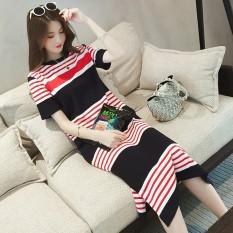 Musim Panas Panjang Lengan Bergaris Menyusui Gaun Baju Menyusui (Coklat [Kualitas Yang Baik])