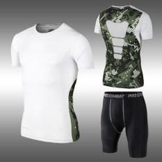 Musim Semi atau Gugur Bernapas Cepat Kering Lengan Bang Pendek Kebugaran Pakaian Kerja (Kamuflase Putih Lengan Pendek + Celana pendek Ketat)