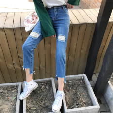 Beli Bf Siswa Musim Panas Retro Angin Lubang Celana Jeans Celana Jeans Lurus Biru Biru Lengkap