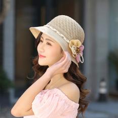 Musim panas perempuan topi jerami topi (Khaki) (Khaki)