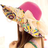 Musim Panas Perempuan Topi Pantai Topi Matahari Topi Totem Rose Tiongkok Diskon