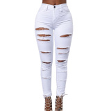 Ulasan Lengkap Panas Musim Ikat Tinggi Kurus Celana Jeans Panjang Peregangan Pensil Putih