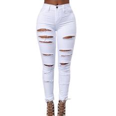 Harga Termurah Panas Musim Ikat Tinggi Kurus Celana Jeans Panjang Peregangan Pensil Putih