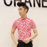 Promo Kemeja Pria Model Tipis Lengan Pendek Motif Cetak Bunga Bunga Membentuk Tubuh Versi Korea D07 Hong Oem Terbaru