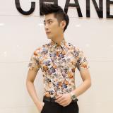 Jual Kemeja Pria Model Tipis Lengan Pendek Motif Cetak Bunga Bunga Membentuk Tubuh Versi Korea D10 Lengkap