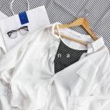 Beli Musim Panas Putih Bergaris Lo Shi Slim Longgar Kemeja Kemeja Putih Online