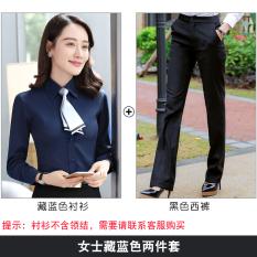Musim Semi Baru Pria atau Wanita Model Sama Kemeja Putih (Wanita Biru Tua Kemeja + Celana Hitam)