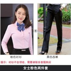 Musim Semi Baru Pria atau Wanita Model Sama Kemeja Putih (Wanita Merah Muda Kemeja + Celana Hitam)