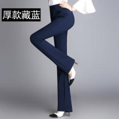 Diskon Musim Semi Dan Musim Panas Baru Sedikit Mirip Terompet Celana Panjang Perempuan F600 Biru Tua Bagian Tebal Tanpa Beludru Oem Di Tiongkok