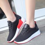 Harga Musim Semi Dan Gugur Baru Datar Dengan Sepatu Sneakers Sol Tebal Sepatu Wanita Hitam Asli