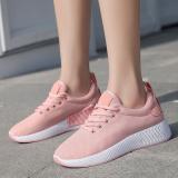 Review Terbaik Musim Semi Dan Gugur Baru Datar Dengan Sepatu Sneakers Sol Tebal Sepatu Wanita Merah Muda Warna