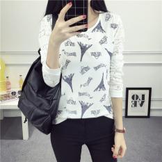Cuci Gudang Xianyuansu Kaos Wanita Trendi Lengan Panjang Motif Cetak Renda 2 Warna Bunga 221 Putih