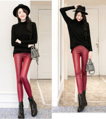 Toko Musim Semi Dan Gugur Produk Baru Pinggang Tinggi Celana Kulit Arak Anggur Warna Baju Wanita Celana Wanita Lengkap