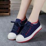 Harga Korea Fashion Style Putih Siswa Perempuan Datar Sepatu Kain Untuk Membantu Sepatu Kanvas Biru Yang Murah