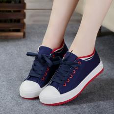 Korea Fashion Style Putih Siswa Perempuan Datar Sepatu Kain Untuk Membantu Sepatu Kanvas Biru Murah