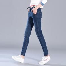 Jeans Musim Semi atau Musim Gugur Baru Celana Korea Modis Gaya Ikat Elastis (Biru Tua
