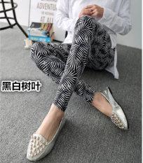 Beli Tuan Cool Multi Color Female Outerwear Ankle Length Pants Spring Leggings Hitam Dan Putih Daun Seken
